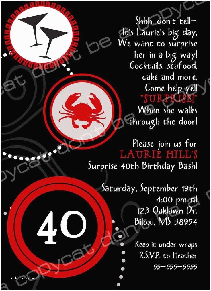 40th Birthday Invitation Wording 40th Birthday Invite Wording Surprise