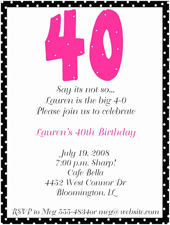40th Birthday Invitation Wording 40th Birthday Party Invitations
