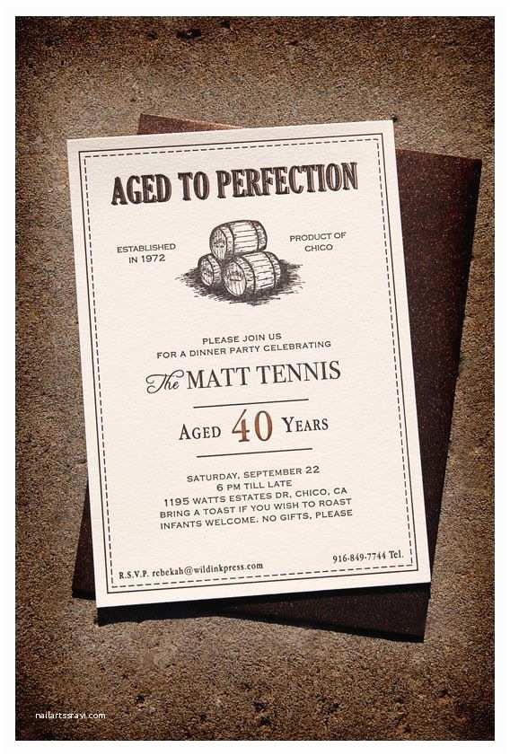 40th Birthday Invitation Wording Aged to Perfection Dinner Party Letterpress Invitations