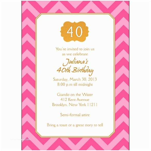 40th Birthday Invitations for Her 40th Birthday Invitation Wording – Gangcraft