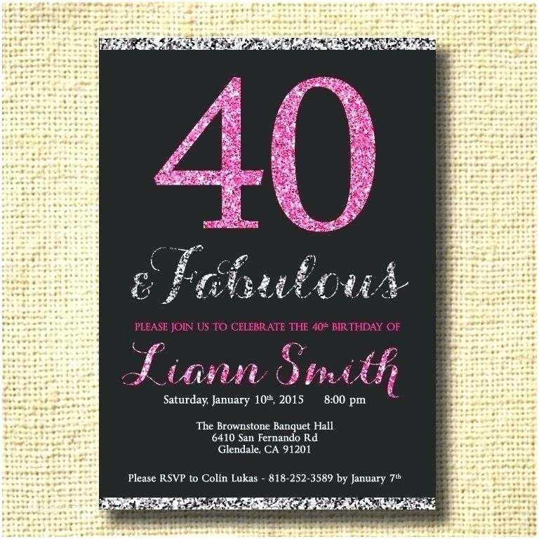 40th Birthday Invitations for Her 40th Birthday Invitations Female Birthday Invitations
