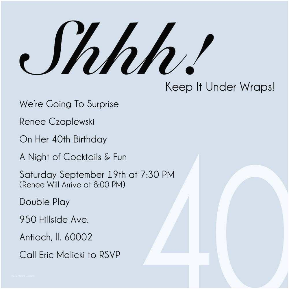 40th Birthday Invitations For Her Party Invitation Template Free