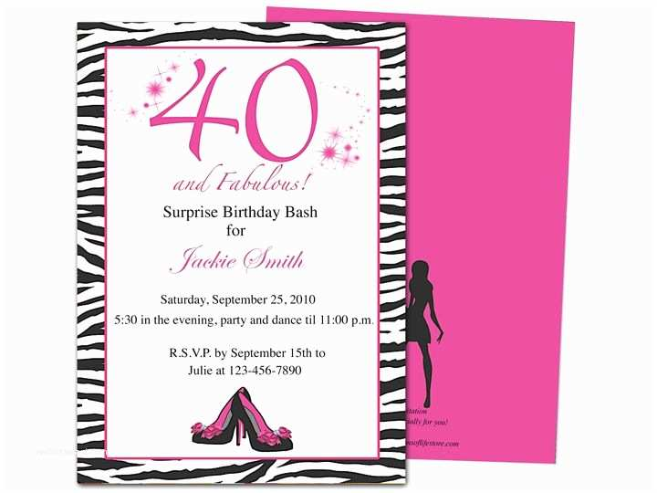 40th Birthday Invitations for Her 40th Party Invites