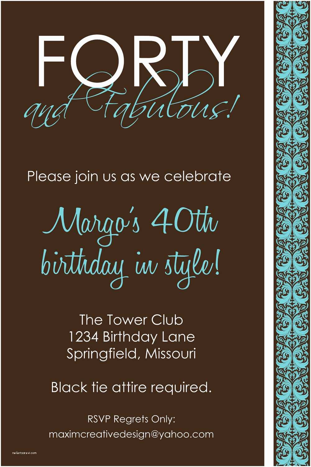 40th Birthday Invitations For Her Invitation Party Men