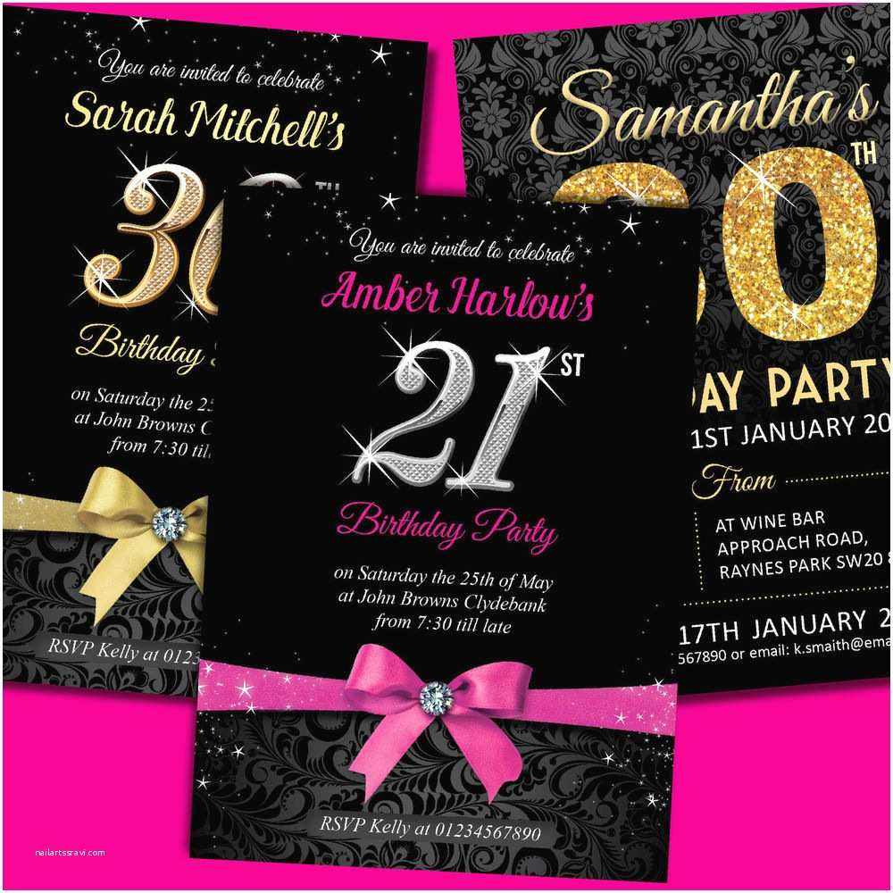 40th Birthday Invitations For Her Personalised Party Invites 18th