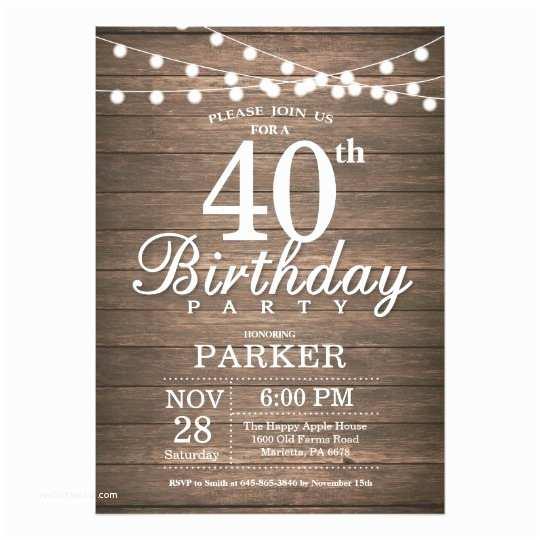 40th Birthday Invitations for Her Rustic 40th Birthday Invitation String Lights Wood