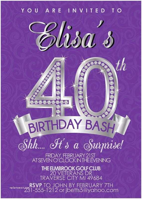 40th Birthday Invitations for Her Surprise 40th Birthday Invitation Adult Birthday Invite
