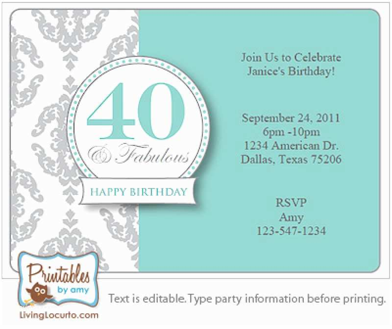 40th Birthday Invitations For Her Surprise Invitation Free Template