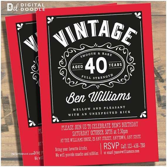 40th Birthday Invitations for Him 40th Birthday Invitation 40th Birthday Birthday by