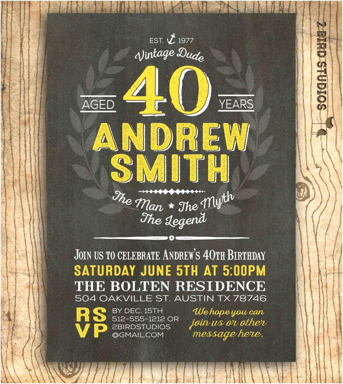 40th Birthday Invitations for Him 40th Birthday Invitation for Him Surprise 40th Birthday