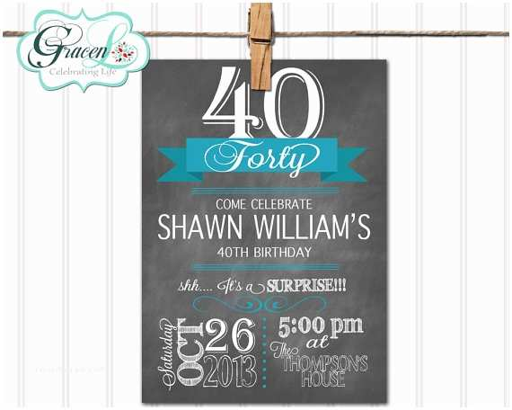 40th Birthday Invitations for Him 40th Birthday Invitation Surprise Birthday by Gracenldesigns