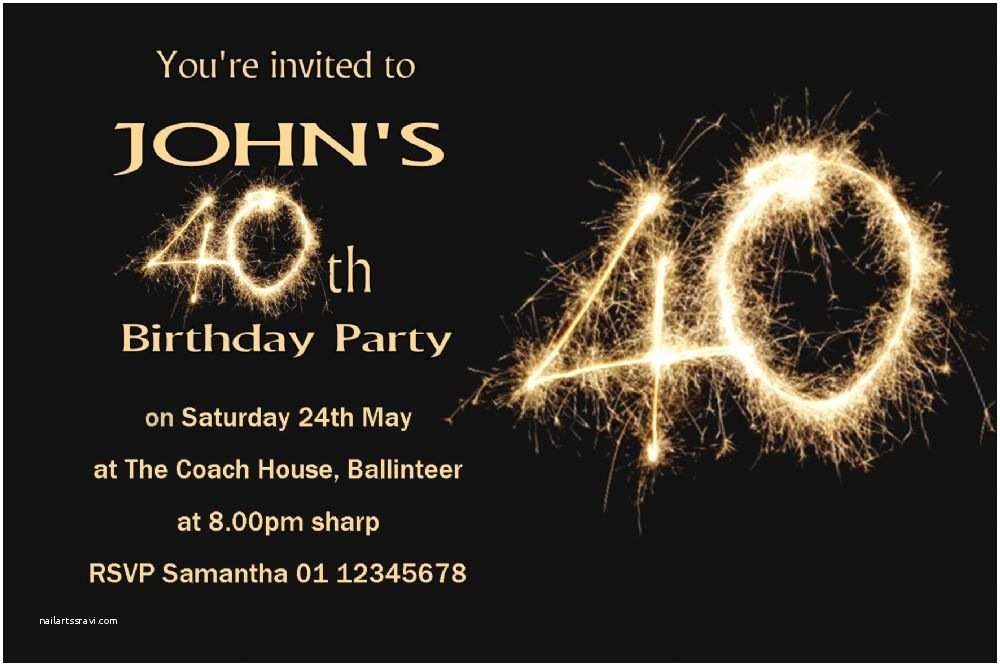 40th Birthday Invitations for Him Personalised 40th Birthday Invitation