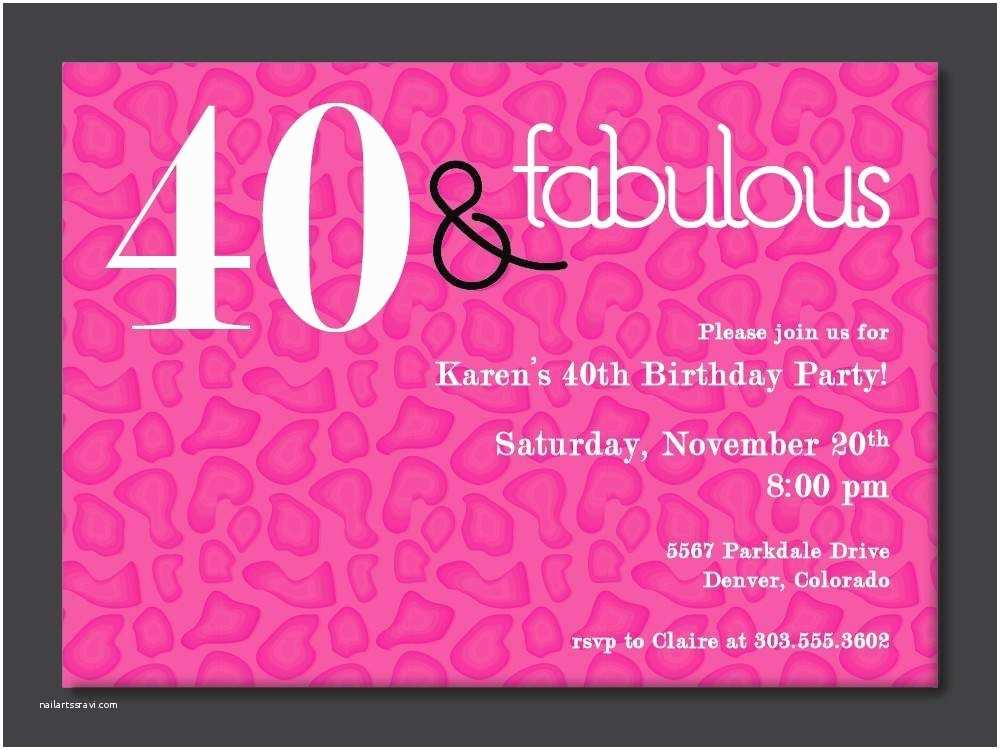 40th Birthday Party Invitations Free Printable Invitation Template
