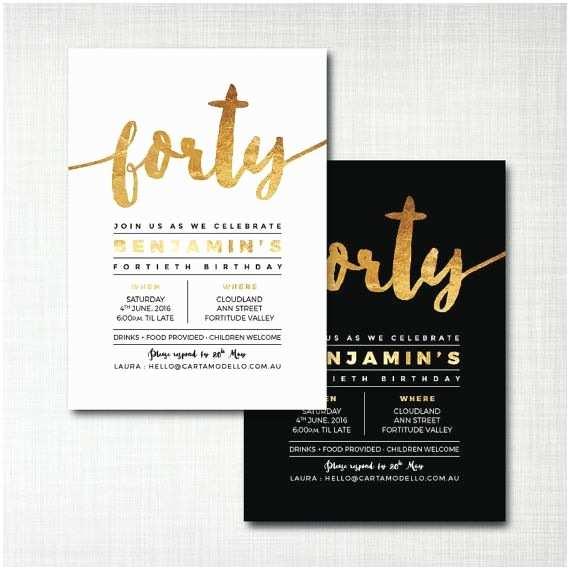 40th Birthday Party Invitations 40th Birthday Invitation Modern Gold Foil Effect Black