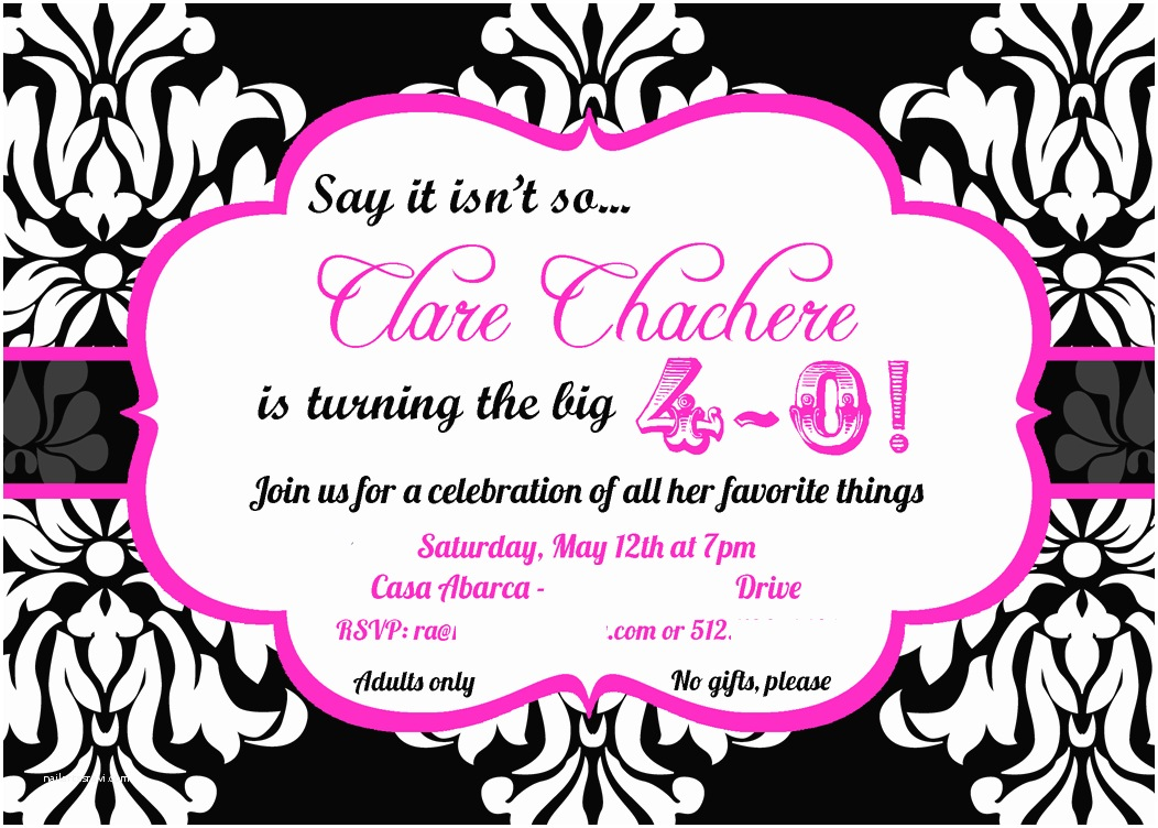 40th Birthday Party Invitations 40th Birthday Invitations for Her