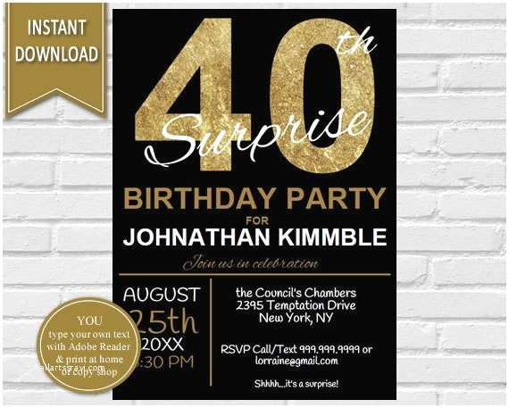 40th Birthday Party Invitations 40th Surprise Birthday Invitation 40th Birthday Invite