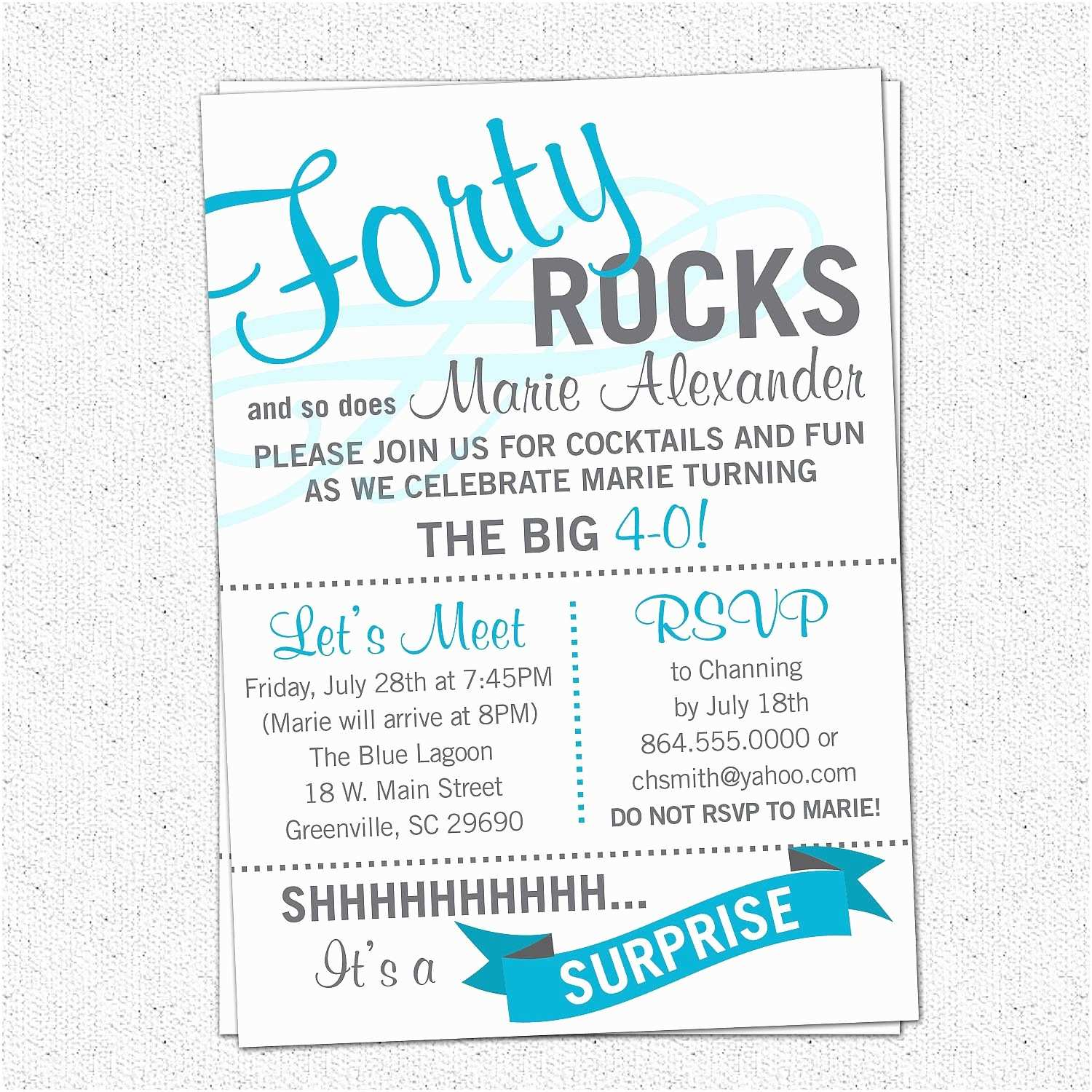 40th Birthday Party Invitations Printable forty Rocks Birthday Party Bash Invitation