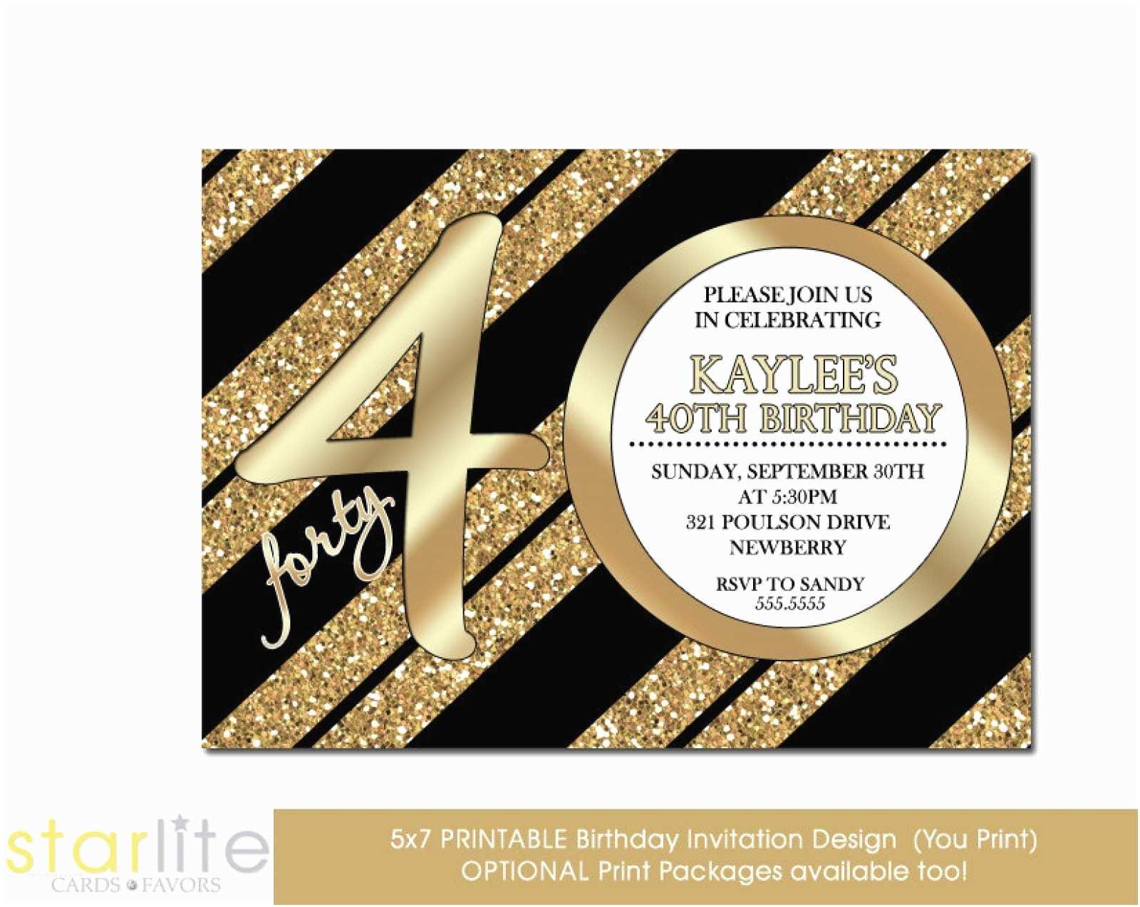 40th Birthday Party Invitations Unique Invitation Black Gold Glitter