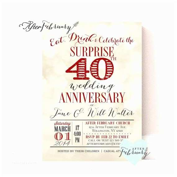 40th Ruby Wedding Anniversary Invitations 17 Best Ideas About 40th Anniversary Parties On Pinterest