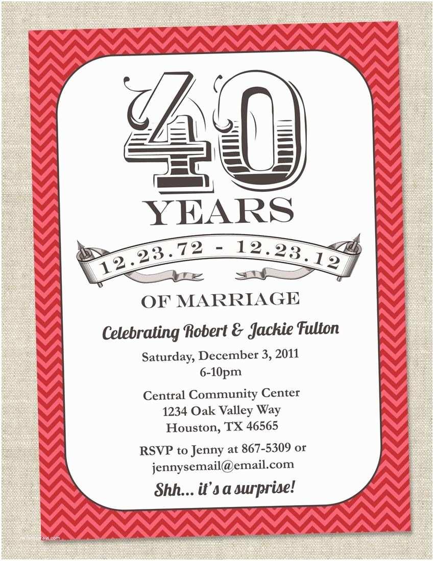 40th Ruby Wedding Anniversary Invitations 40th Anniversary Invitation Ruby Red Vintage Anniversary