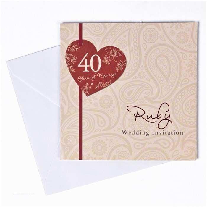40th Ruby Wedding Anniversary Invitations 40th Ruby Anniversary Invitation Cards Pack 10