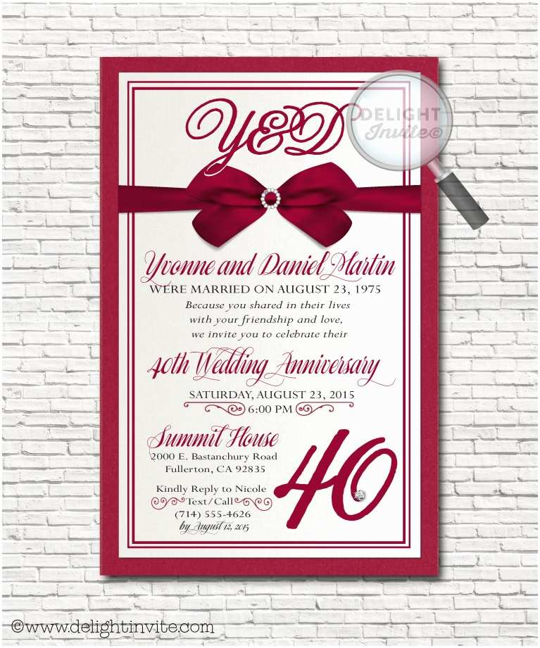 40th Ruby Wedding Anniversary Invitations Anniversary Party Invitations Custom Invitations and