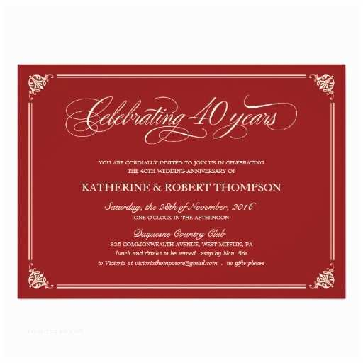 40th Ruby Wedding Anniversary Invitations formal Ruby 40th Anniversary Invitations