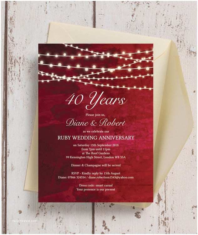 40th Ruby Wedding Anniversary Invitations Personalised Red Fairy Lights 40th Ruby Wedding