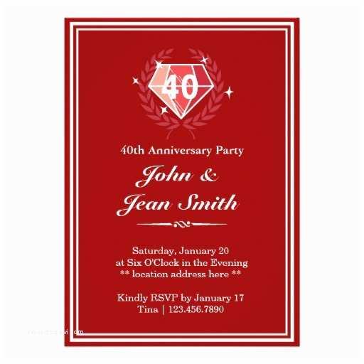 40th Ruby Wedding Anniversary Invitations Personalized 40th Invitations