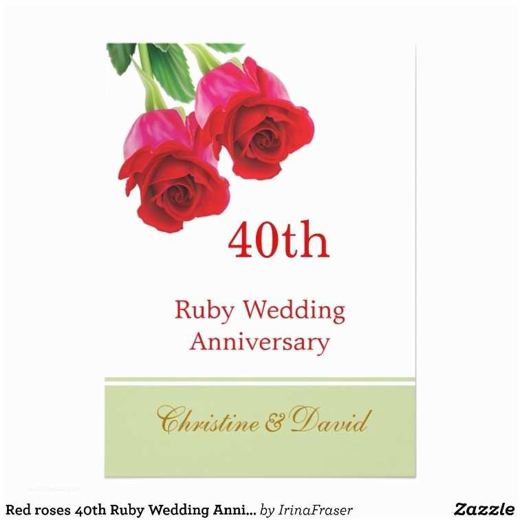 40th Ruby Wedding Anniversary Invitations Red Roses 40th Ruby Wedding Anniversary Invitation