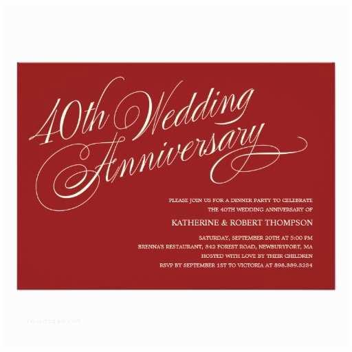 40th Ruby Wedding Anniversary Invitations Ruby Wedding Anniversary Invitations