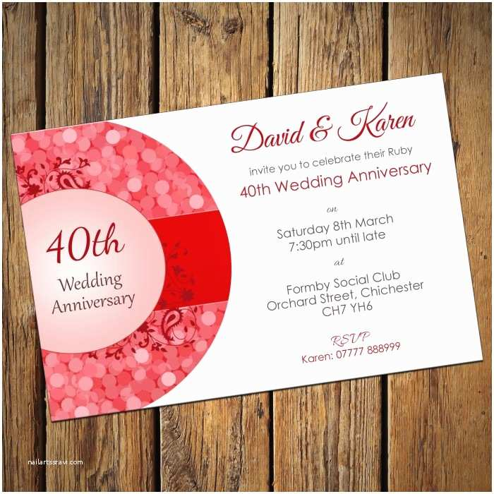 40th Ruby Wedding Anniversary Invitations Ruby Wedding Invitation Cards