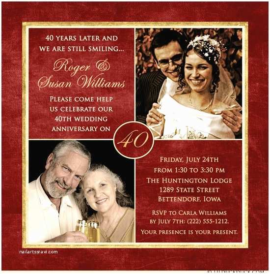 40th Wedding Anniversary Invitations 40 Years Of Smiles Invitation Wedding Anniversary