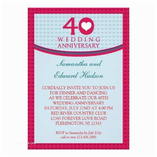 "40th Wedding Anniversary Invitations 40th Heart Wedding Anniversary Invitation 5"" X"