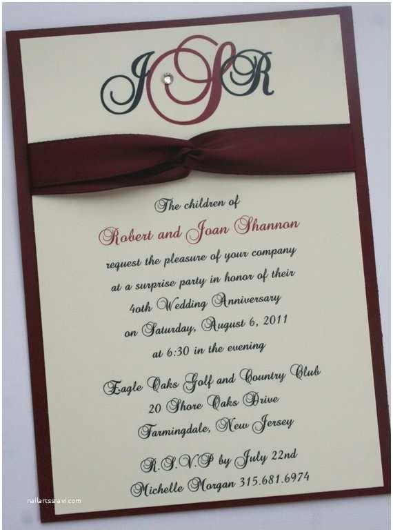 40th Wedding Anniversary Invitations 40th Ruby Wedding Anniversary Invitation By