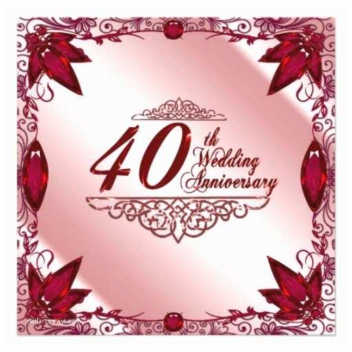 40th Wedding Anniversary Invitations 40th Wedding Anniversary Invitation 13 Cm X 13 Cm