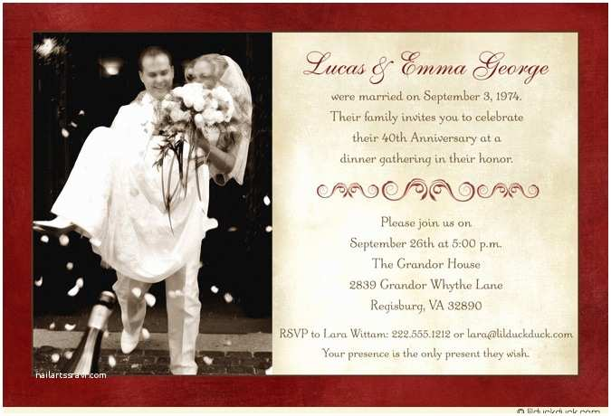 40th Wedding Anniversary Invitations 40th Wedding Anniversary Invitation Cards A Birthday