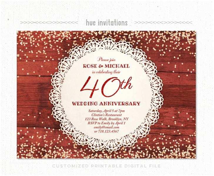 40th Wedding Anniversary Invitations 40th Wedding Anniversary Invitation Ruby Anniversary Party