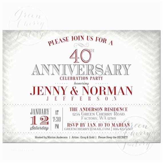40th Wedding Anniversary Invitations 40th Wedding Anniversary Invitation Ruby Red