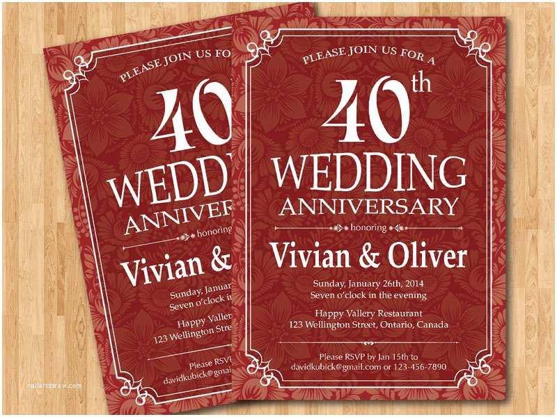 40th  Anniversary Invitations 40th  Anniversary Invitation Ruby Red