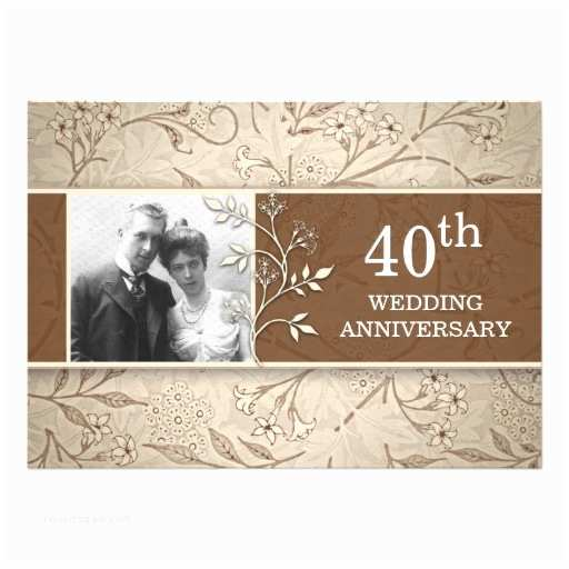 40th Wedding Anniversary Invitations 40th Wedding Anniversary Photo Invitations 13  X 18