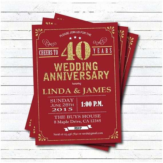 40th Wedding Anniversary Invitations Best 25 40th Anniversary Ideas That You Will Like