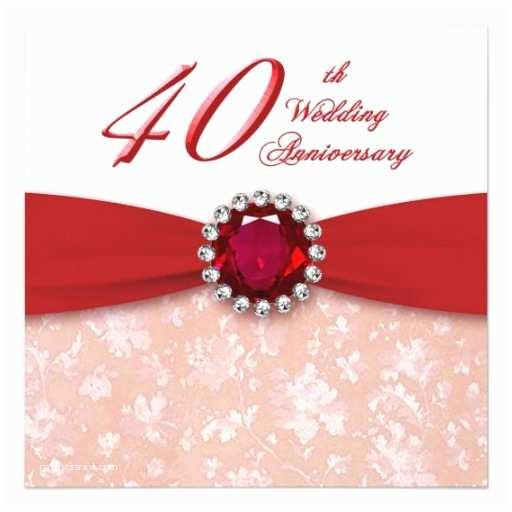 "40th Wedding Anniversary Invitations Damask 40th Wedding Anniversary Invitation 5 25"" Square"