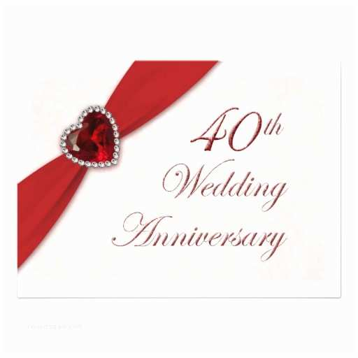 "40th Wedding Anniversary Invitations Damask 40th Wedding Anniversary Invitation  "" X 7"