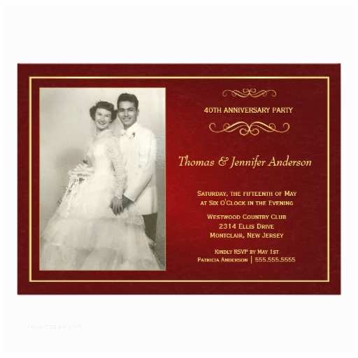 "40th Wedding Anniversary Invitations Ruby Wedding Anniversary Invitations 40th 5"" X"