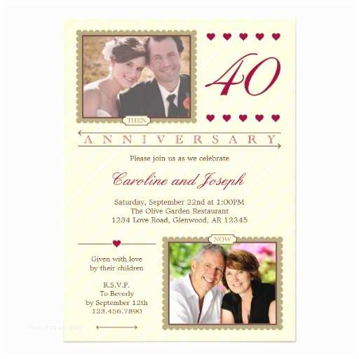 """40th Wedding Anniversary Invitations then and now 40th Wedding Anniversary Invitation 5"""" X 7"""