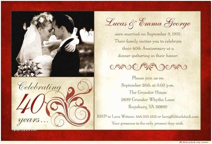 40th Wedding Anniversary Invitations Wedding Anniversary Invitation Template