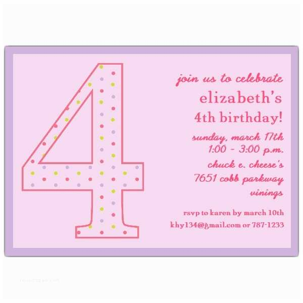 4th Birthday Invitation Wording 4th Birthday Girl Dots Invitations