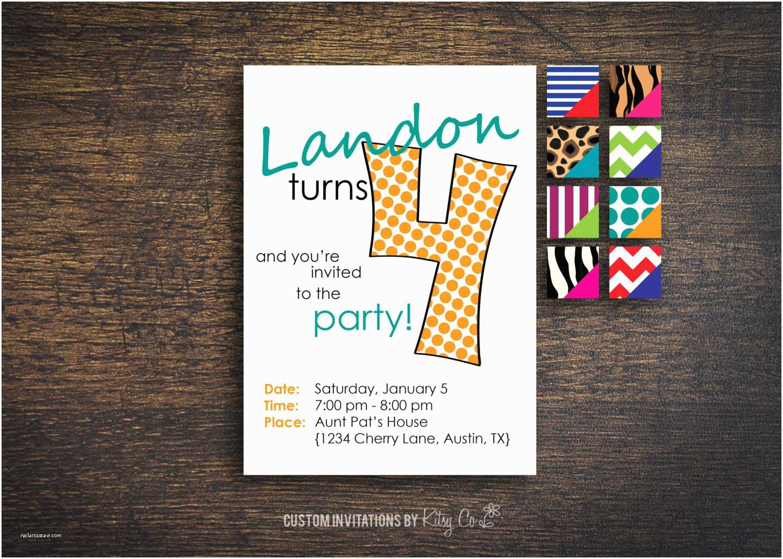 4th Birthday Invitation Wording Kids Printable Digital