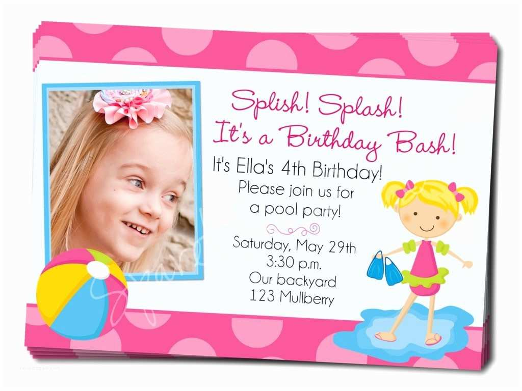 4th Birthday Invitation Wording Birthday Invitation 4th Birthday Pool Party Invitation